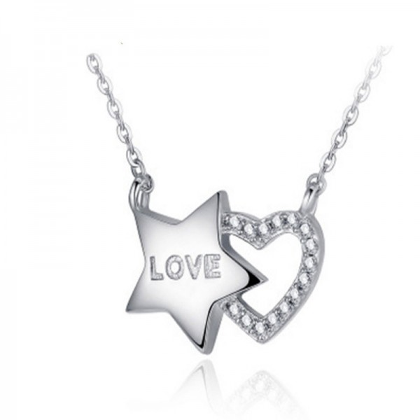 Silver Exquisite 3A Zircon Ladies' Necklace With Chain Valentine'S Day Gift