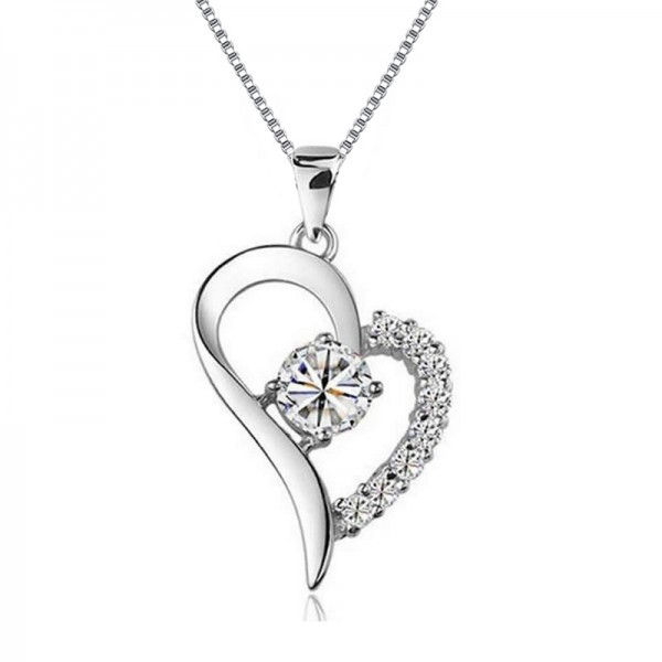 Silver 3A Zircon Ladies' Exquisite Necklace With Chain Valentine'S Day Gift