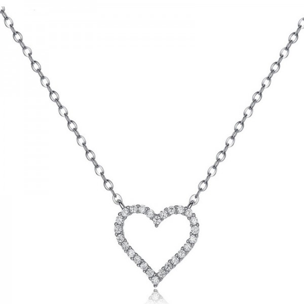 Silver Vogue 3A Zircon Ladies' Necklace With Chain Valentine'S Day Gift