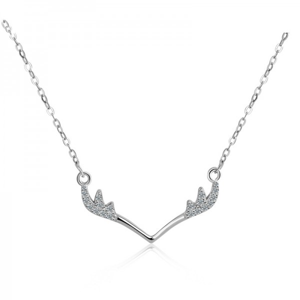Silver 3A Zircon Vogue Ladies' Necklace With Chain Valentine'S Day Gift