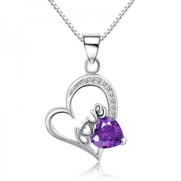 Silver 3A Zircon Ladies Necklace Stylish Lovely Pendant