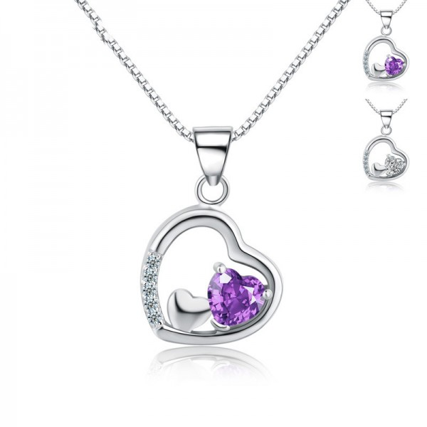 925 Silver 3A Zircon Ladies Necklace Designal Pendant