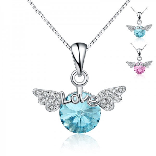 925 Silver 3A Zircon Ladies Necklace Pendant Romantic Women Necklace
