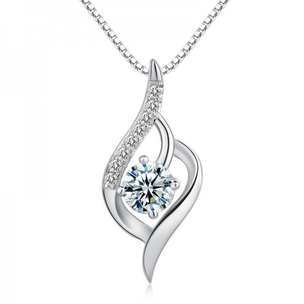Romantic 925 Silver 3A Zircon Ladies Necklace Pendant