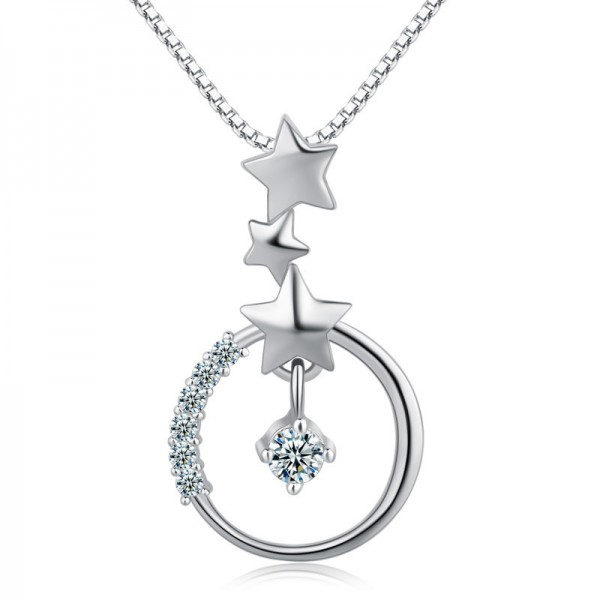925 Silver Romantic 3A Zircon Ladies Necklace Pendant