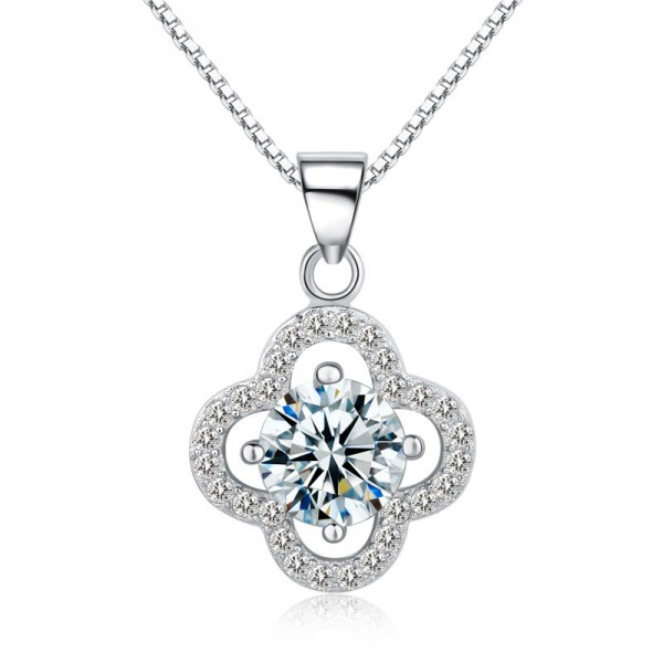 925 Silver 3A Zircon Romantic Ladies Necklace Pendant