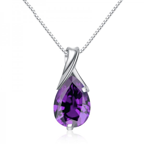 925 Silver 3A Zircon Ladies Necklace Romantic Pendant