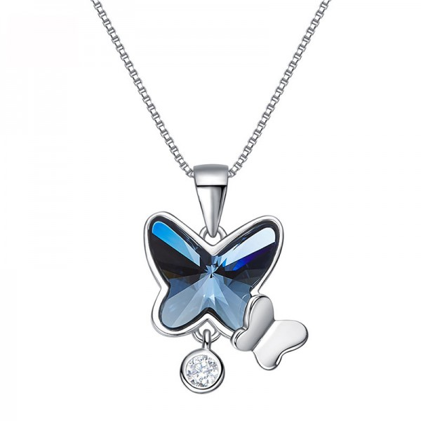 S925 Sterling Silver Swarovski Crystal Butterfly Necklace