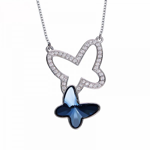 Crystal Butterfly Pendant S925 Sterling Silver Necklace