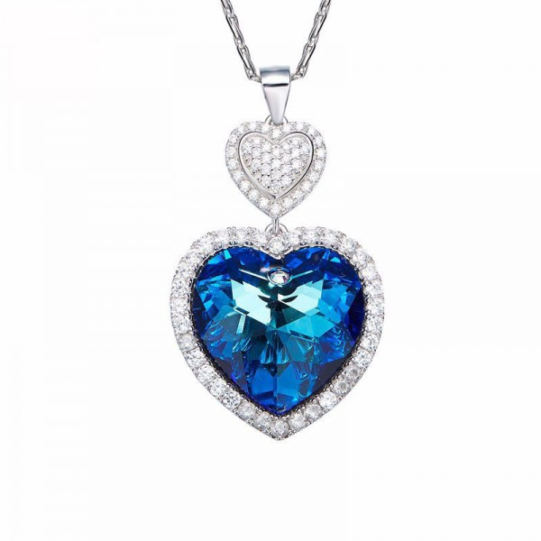 S925 Sterling Silver Necklace Female Simple Double Heart Blue Light Ring