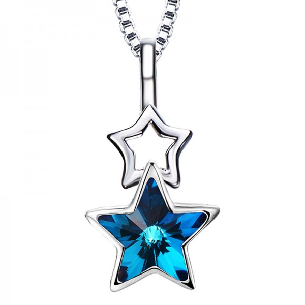 Simple S925 Sterling Silver Necklace Female Star Pendant
