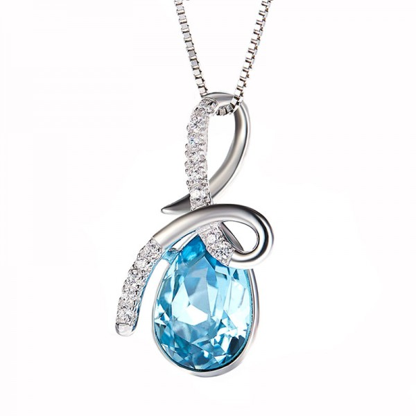 Crystal Necklace Lady 925 Sterling Silver Pendant