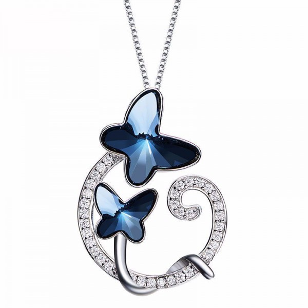 S925 Silver Butterfly Lady Necklace