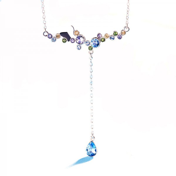 S925 Sterling Silver Crystal Butterfly Necklace
