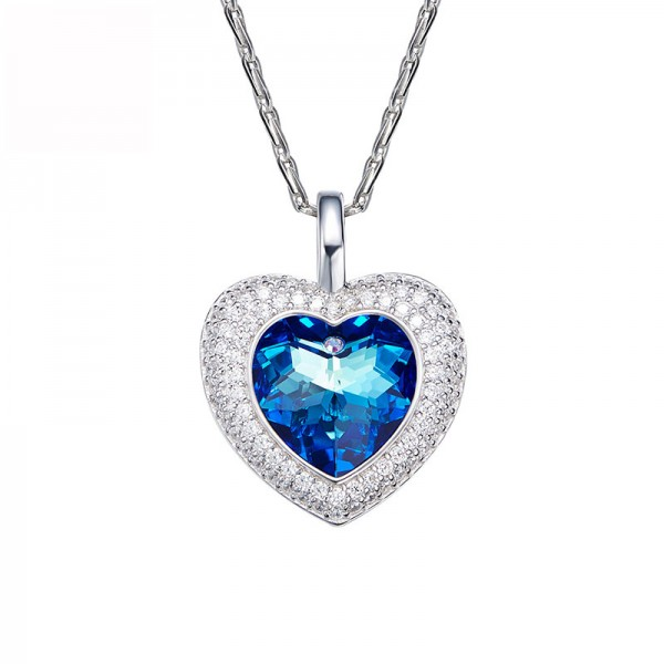 S925 Sterling Silver Necklace Sea Heart Pendant