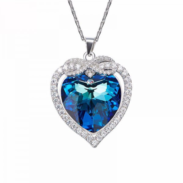 S925 Silver Austria Crystal Blue Ocean Heart Pendant