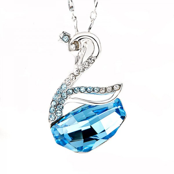 Simple S925 Silver Swan Crystal Clavicle Necklace