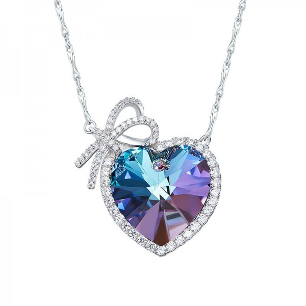 S925 Silver Heart Crystal Clavicle Chain
