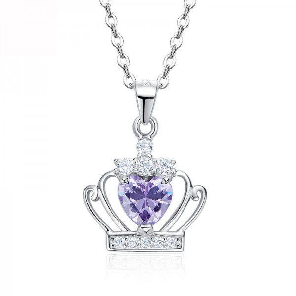 Simple Purple Cubic Zirconia S925 Silver Necklace