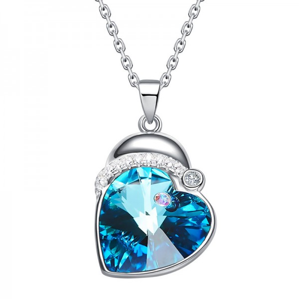 Christmas S925 Sterling Silver Crystal Necklace