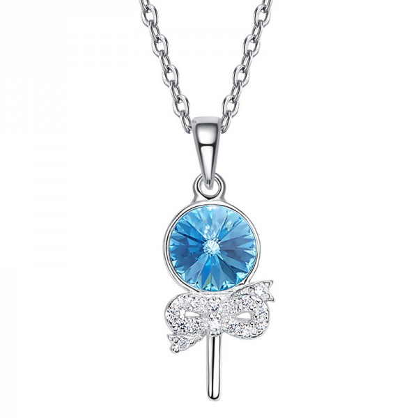 S925 Sterling Silver Pendant Crystal Necklace
