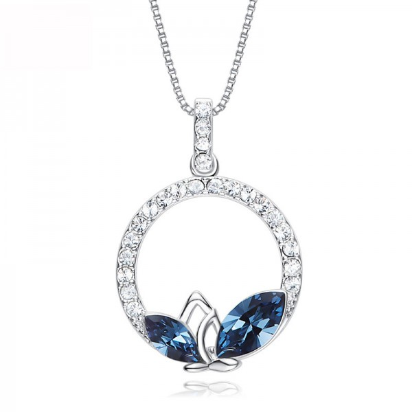 S925 Sterling Silver Necklace Ladies Crystal Pendants