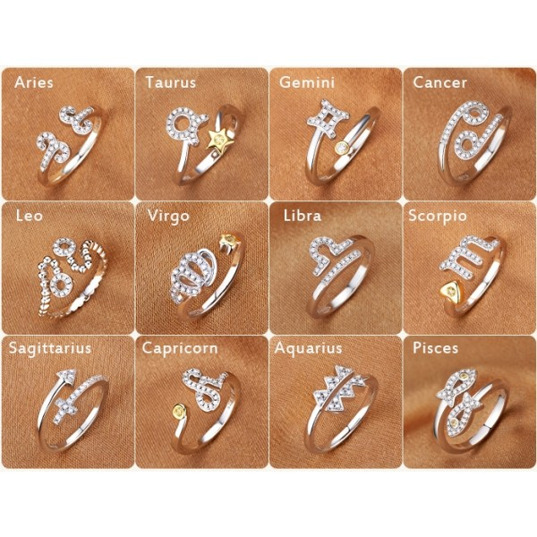 925 Sterling Silver 12 Constellations Opening Adjustable Rings